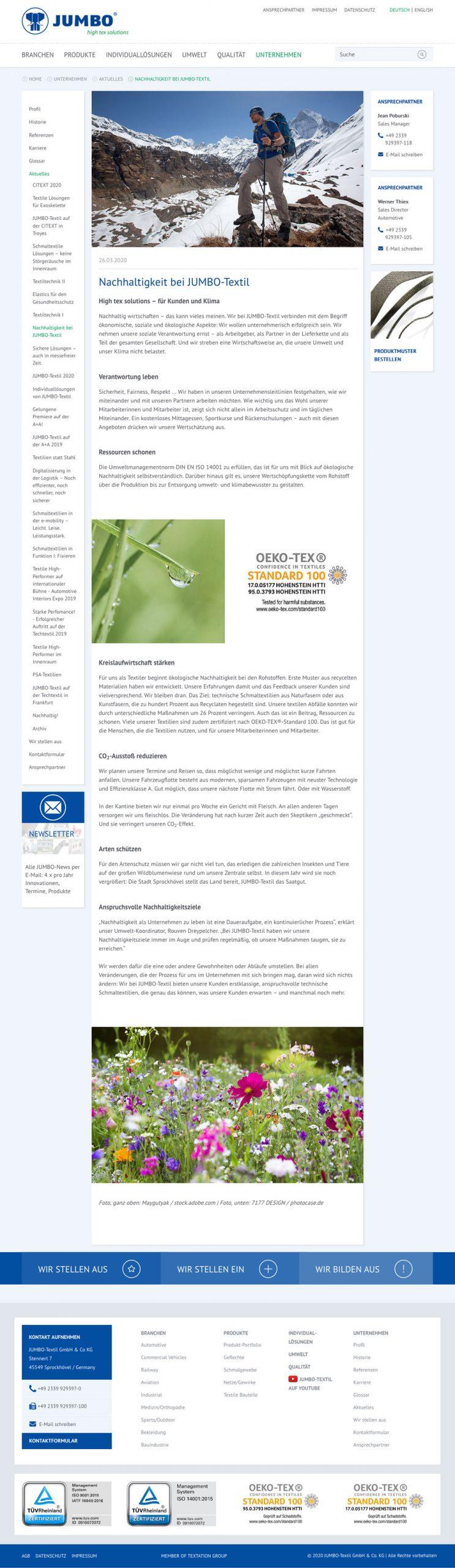 stotz Digital-Design JUMBO-Textil Nachhaltigkeit